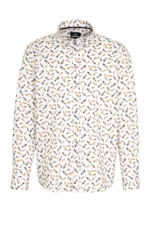 regular fit overhemd met all over print wit/bruin