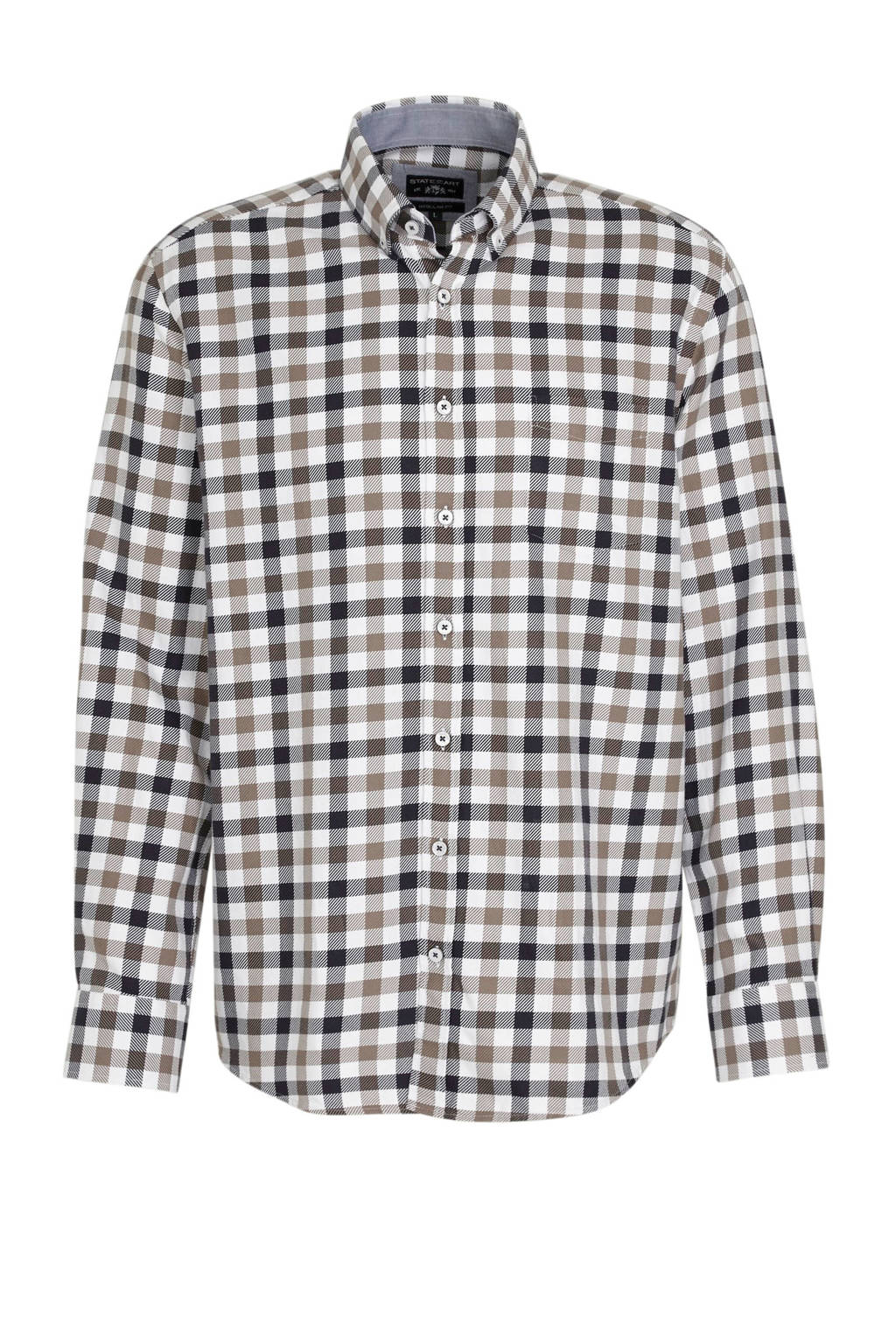State of Art geruit regular fit overhemd donkerblauw/wit/kaki