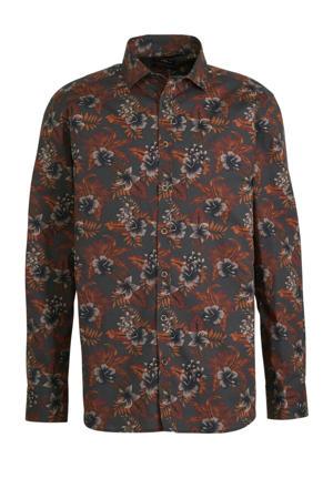 regular fit overhemd met all over print antraciet/oranje