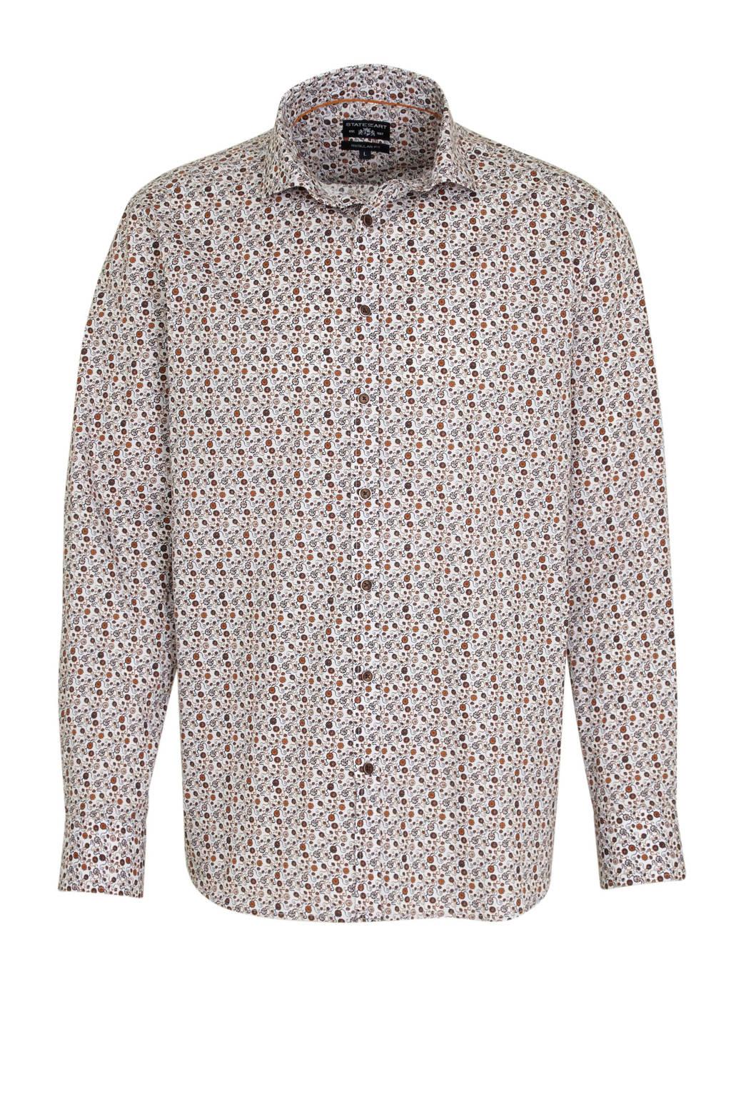 State of Art regular fit overhemd met all over print bruin, Bruin