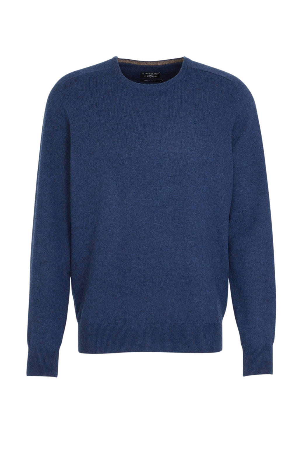 State of Art fijngebreide wollen trui kobaltblauw, Kobaltblauw