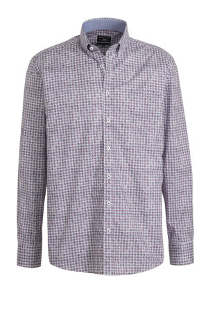 regular fit overhemd met all over print donkerrood/wit/blauw