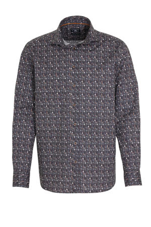 regular fit overhemd met all over print donkerbruin/antraciet