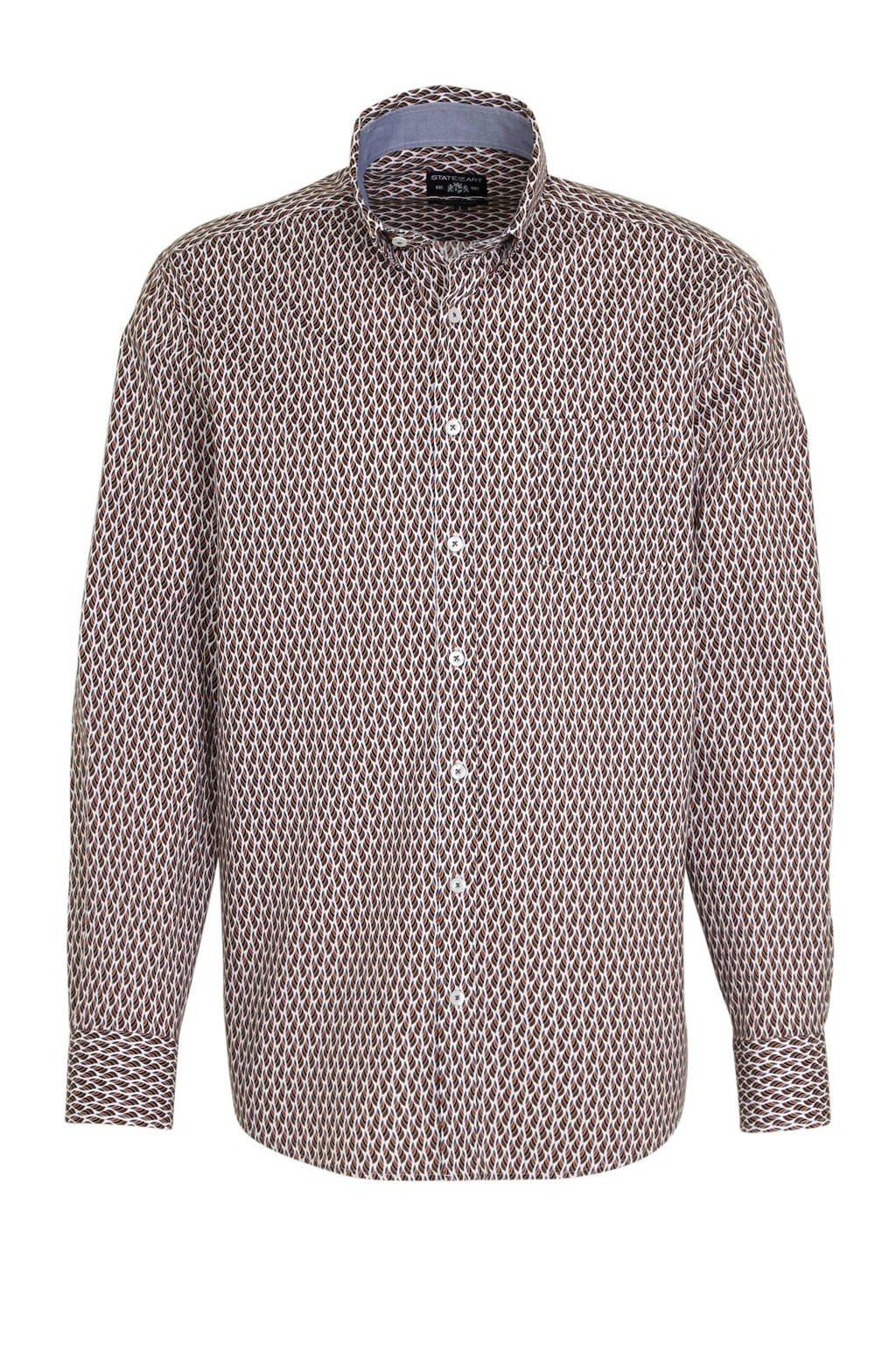 State of Art regular fit overhemd met all over print brique/donkerblauw, Brique/donkerblauw