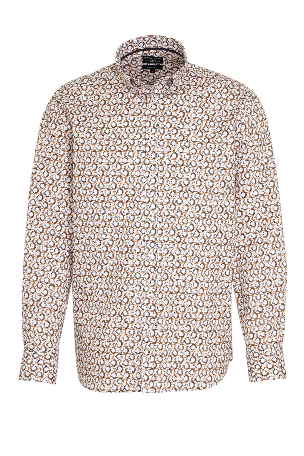 State of Art regular fit overhemd met all over print camel/wit, Camel/wit