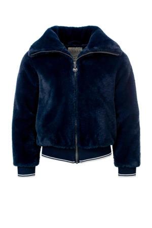 imitatiebont winterjas donkerblauw