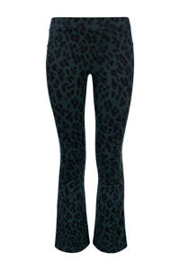 LOOXS 10sixteen flared broek met dierenprint groen/zwart, Groen/zwart