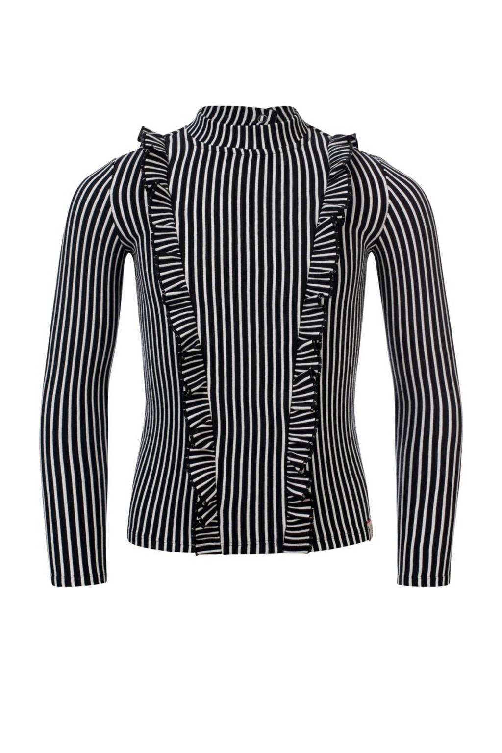LOOXS 10sixteen gestreepte top zwart/wit, Zwart/wit