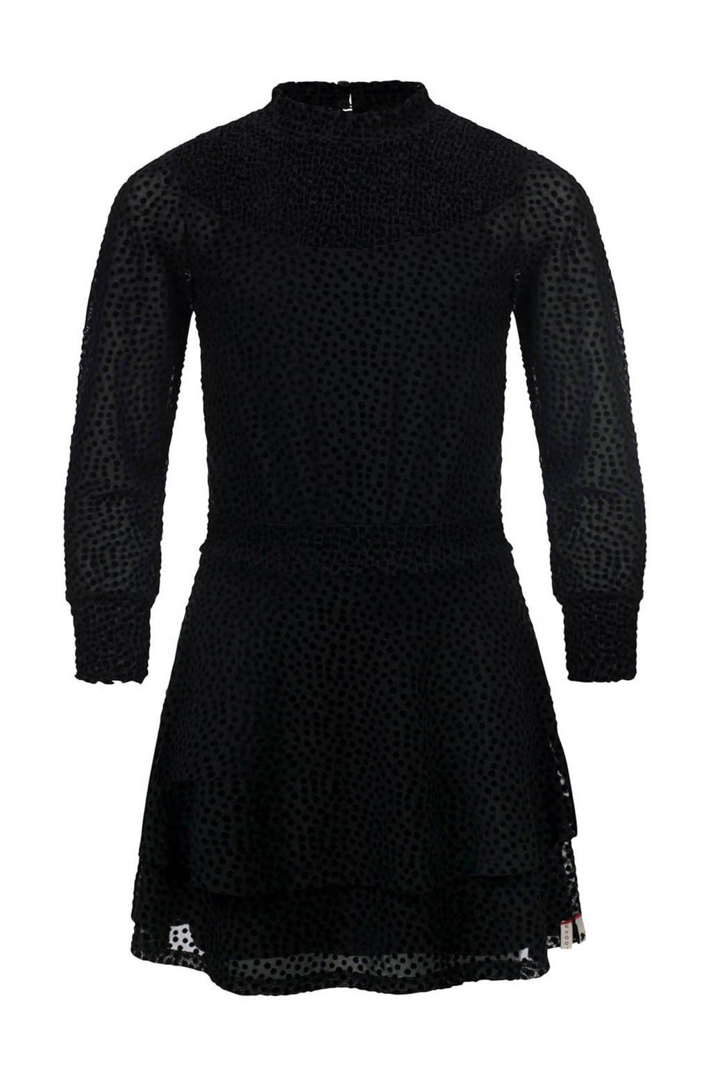 LOOXS 10sixteen semi-transparante jurk met stippen zwart, Zwart