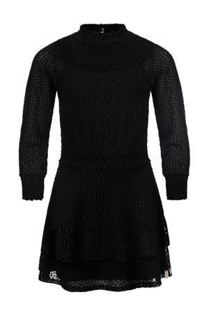 semi-transparante jurk met stippen zwart