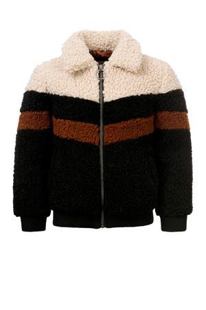 teddy winterjas zwart/ecru/bruin