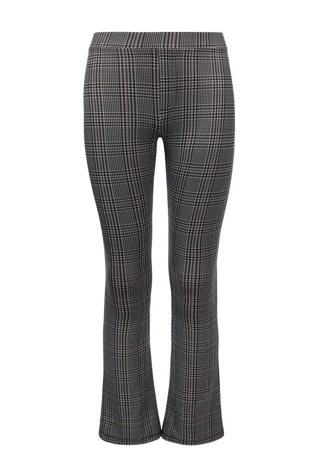 LOOXS 10sixteen geruite flared broek grijs/zwart, Grijs/zwart