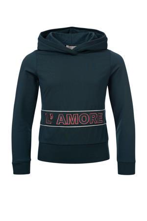 hoodie met tekst blauwgroen