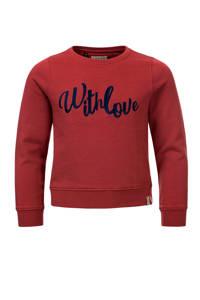 LOOXS 10sixteen sweater met tekst roodbruin, Roodbruin