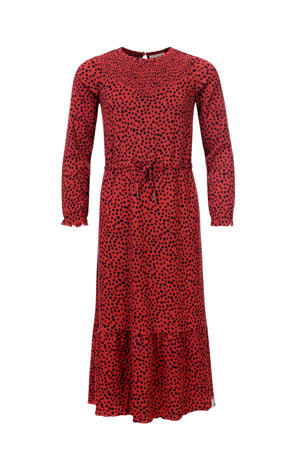 maxi jurk met all over print roodbruin/zwart