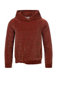 LOOXS 10sixteen fluwelen hoodie met all over print warmbruin, Warmbruin