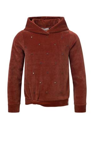 fluwelen hoodie met all over print warmbruin