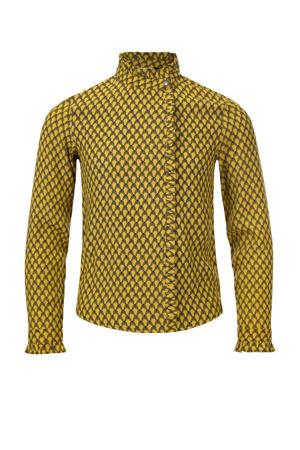 blouse met all over print geel/zwart