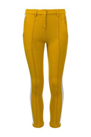 slim fit broek met zijstreep honinggeel/zwart/wit