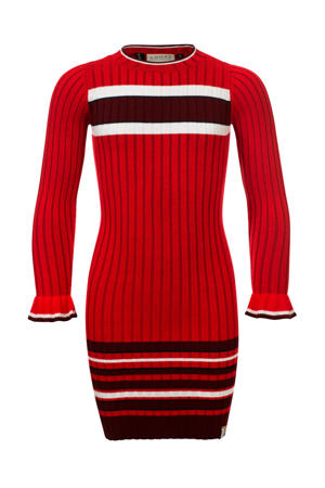gestreepte ribgebreide maxi jurk rood/zwart/wit