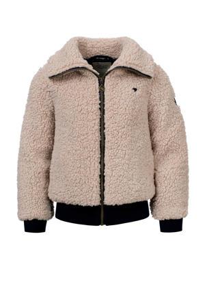 teddy winterjas met tekst zand/donkerblauw