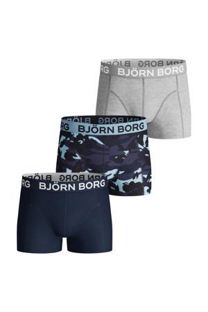 boxershort - set van 3 donkerblauw/grijs melange
