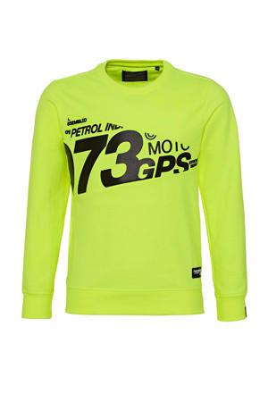 sweater met tekst neon geel