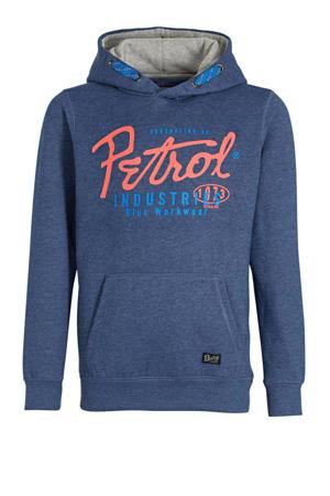 hoodie met logo blauw melange