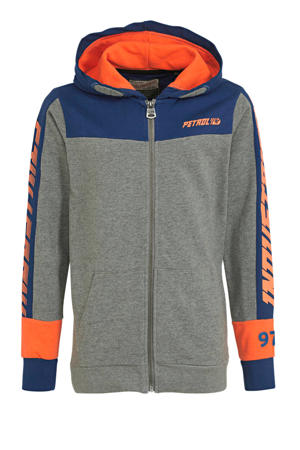 vest met tekst grijs melange/oranje/blauw