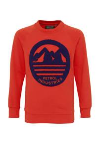 Petrol Industries sweater met printopdruk rood/blauw, Rood/blauw