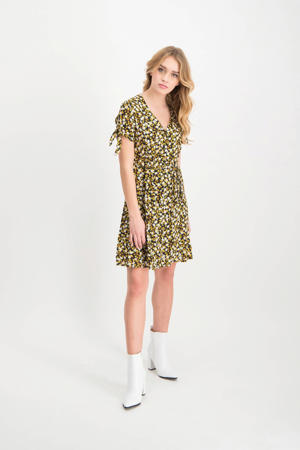 jurk Karin met all over print geel