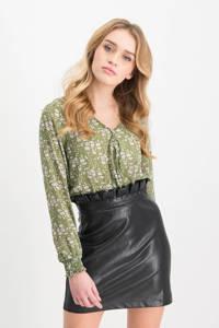 Lofty Manner imitatieleren rok Miriam met ruches zwart, Zwart