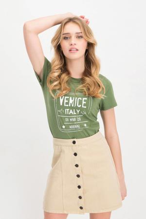 T-shirt Nienke met printopdruk groen