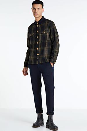 geruit regular fit overhemd donkerblauw/groen
