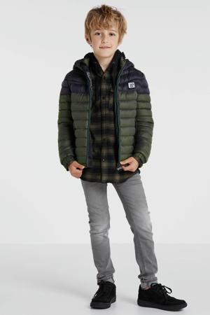 gewatteerde jas zwart/groen