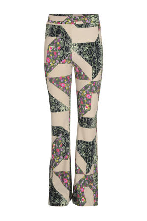 flared broek Giga met all over print beige/groen