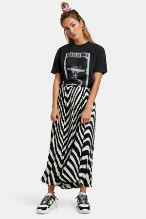 rok met all over print zwart/wit