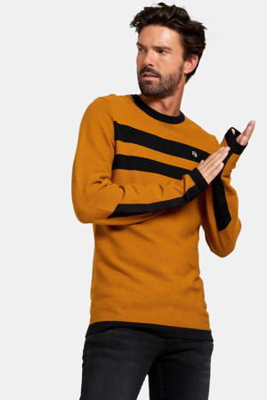 gestreepte trui Ries oker/zwart