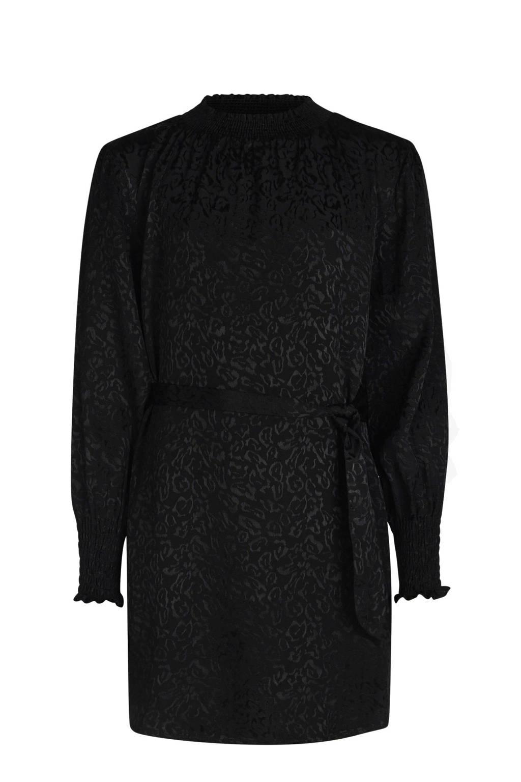 Jill & Mitch by Shoeby jurk Catice met all over print en ceintuur zwart, Zwart