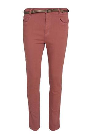 slim fit broek rood/bruin
