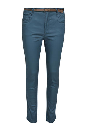 coated skinny broek petrol/bruin