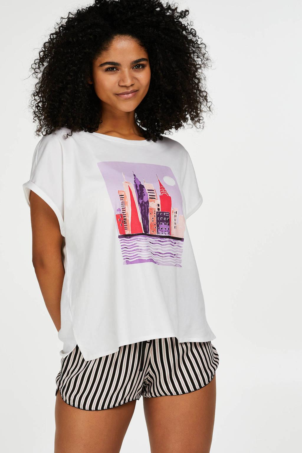 Hunkemöller pyjamatop met printopdruk wit, Wit