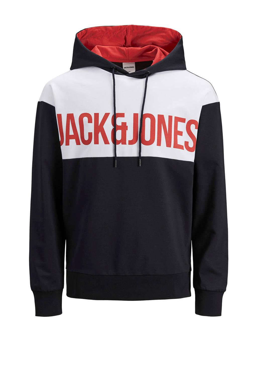 JACK & JONES JUNIOR hoodie Henry met tekst zwart/wit/rood, Zwart/wit/rood