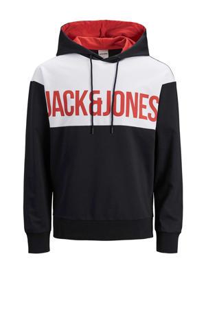 hoodie Henry met tekst zwart/wit/rood