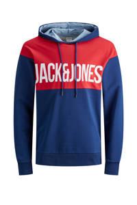JACK & JONES JUNIOR hoodie Henry met tekst blauw/wit/rood, Blauw/wit/rood