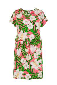 Miss Etam Plus gebloemde jersey jurk roze/wit/groen, Roze/wit/groen