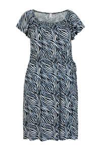 Miss Etam Plus jersey jurk met all over print zwart/blauw/wit, Zwart/blauw/wit