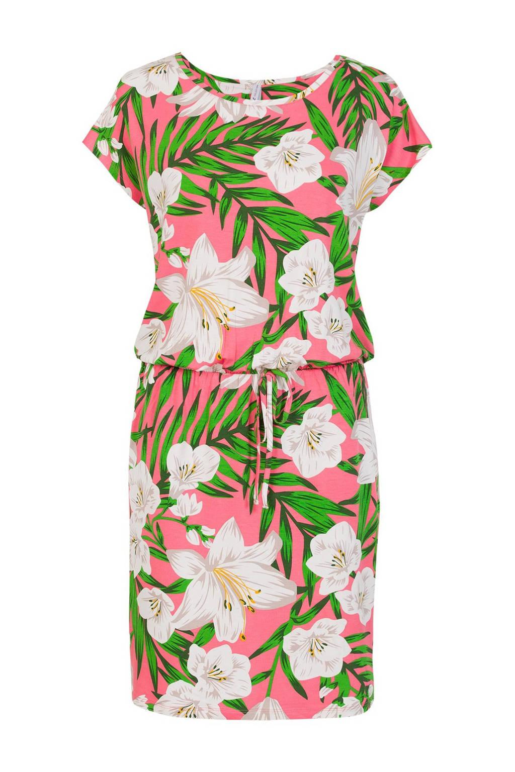 Miss Etam Regulier gebloemde jurk roze/groen/wit, Roze/groen/wit