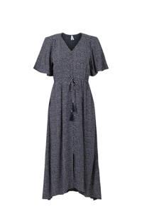 Miss Etam Regulier A-lijn jurk met stippen en plooien donkerblauw/wit, Donkerblauw/wit