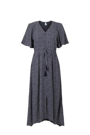 A-lijn jurk met stippen en plooien donkerblauw/wit